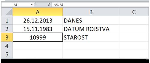 Excel izračun starosti - dnevi