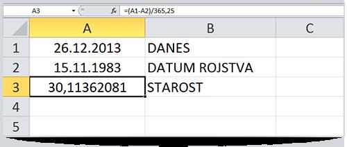 Excel izračun starosti - leta