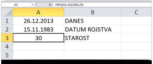 Excel izračun starosti - zaokrožena leta