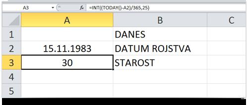 Excel izračun starosti - samodejen datum